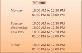 Timings for Dietician Prerna Clinic Sector 23A